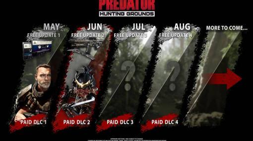 「Predator: Hunting Grounds」の無料アップデートでダッチの武器が正式リリース。DLC第2弾では「サムライプレデター」が参戦